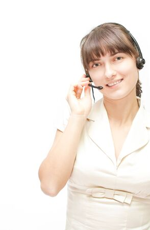 Good looking woman with microphone supporting clients by phone