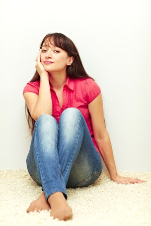Young female sitting and relaxed Stock Photo