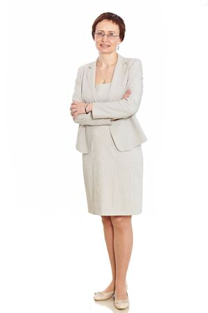 Beautiful woman posing in suit and glasses Isolated over white background Stock Photo - 9071824