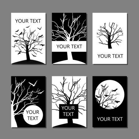 Set vettoriale di sei carte disegnate a mano o modelli di copertina in bianco e nero con pipistrelli e rami di alberi tree
