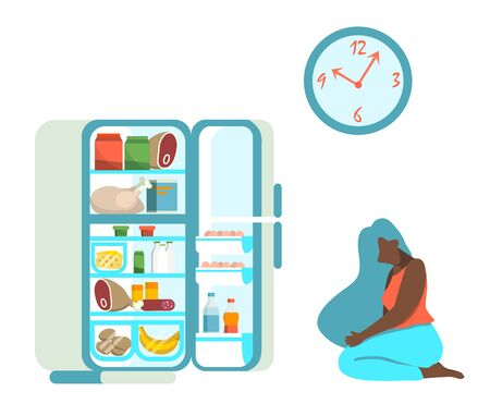 Vector illustration of a woman on a diet hesitating to eat or not to eat in front of open fridge late at night. Flat design