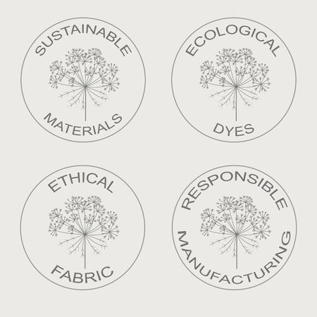 Vector set of linear icons related to sustainable eco friendly fabric manufacturing