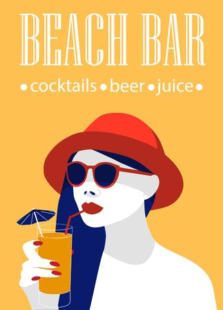 Beach bar poster ad with a stylish young lady drinking cocktail