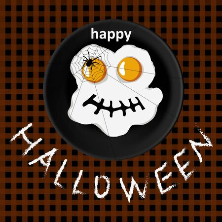 Vector happy halloween card with spooky fried eggs and lettering