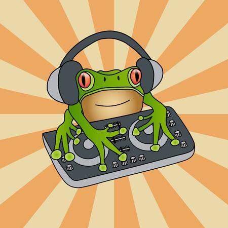 Waxy monkey tree frog DJ mixer against sunburst vintage background. Hand drawn artistic vector pop art