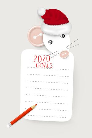 Hand drawn mockup of New Year 2020 goals and resolutions with a rat / mouse - the symbol of Chinese New Year 2020 Vektoros illusztráció