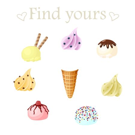 Vector set of ice creams with different flavors and decoration. Make your own concept