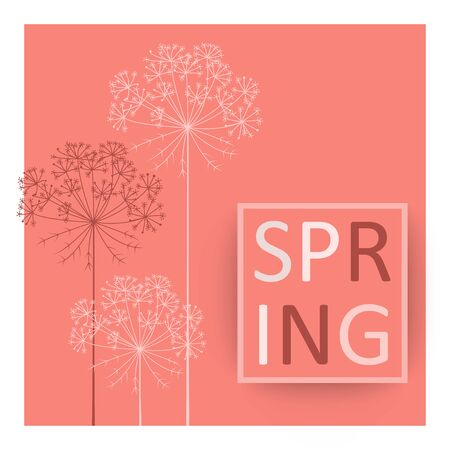 Color of the year 2019 living Coral Pantone Spring botanical Vector background with lettering in frame and hand drawn carrot flowers 일러스트