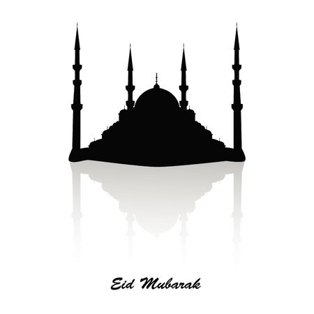 Black silhouette of a mosque with a reflection effect and greeting black text Eid Mubarak, greeting card, muslim religion.