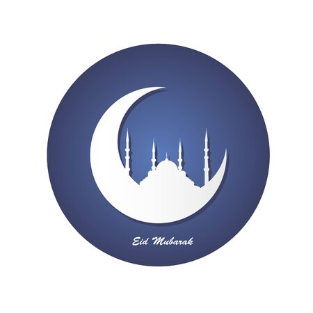 White silhouette of a mosque and moon in the dark blue circle with a greeting text Eid Mubarak