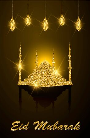 Golden glitter mosque and lanterns with greeting lettering Eid Mubarak, greeting card, muslim religion.
