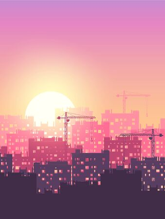 Metropolis industrial sunrise  sunset. Vector with negative space