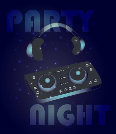Affiche de musique de soirée dansante de nuit ou modèle de flyer avec mixeur dj brillant et écouteurs Vecteurs