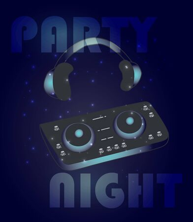 Night dance party music poster or flyer template with glowing dj mixer and head phones Reklamní fotografie - 132895302