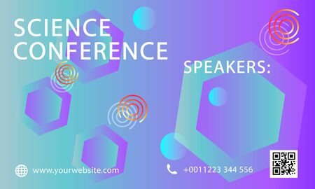 Science conference business design template. Science brochure flyer marketing advertising meeting. - Vector 向量圖像
