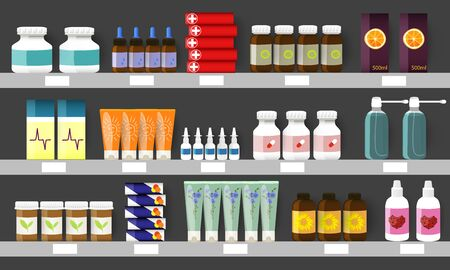 Pharmacy shelves with medicine bottles, sprays and pills.Vector illustration