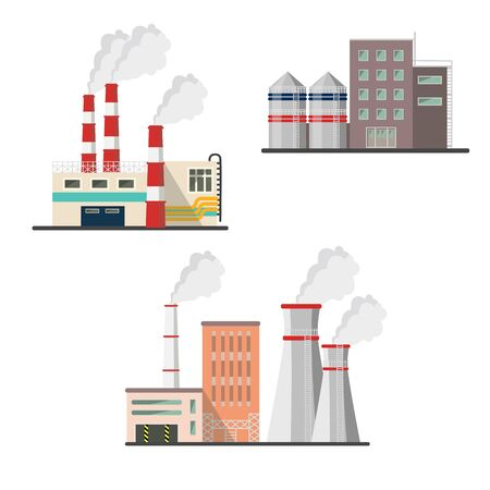 Vector set of nuclear power plants Illustration