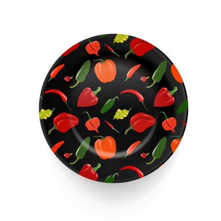 Vector black porcelain plate with hand drawn peppers. Arts and crafts, interior decoration