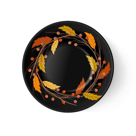 Vector black porcelain plate with hand drawn autumn leaves and branches. Arts and crafts, interior decoration