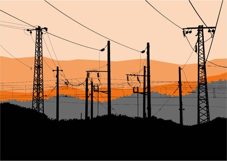 Vector illustration of high voltage power lines, electricity towers and pylons black silhouettes on sunset