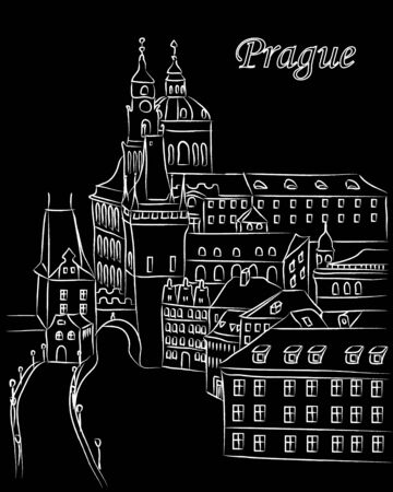 White cartoon vector illustration of downtown Prague in chalk on black with text