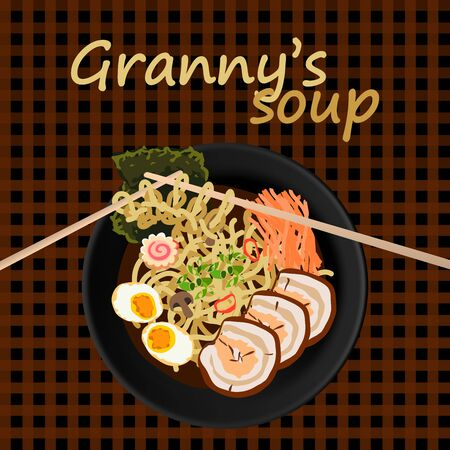 Flat lay vector illustration of asian soup and knitted noodle pattern with chopsticks. Grannys tasty homemade food concept