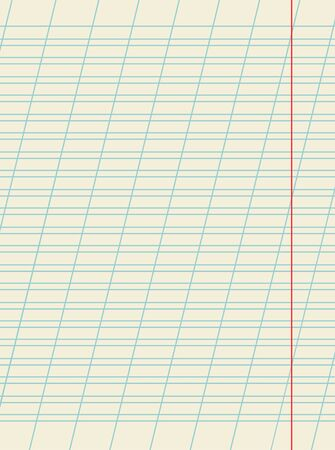 Blank sheet of school notebook with slanted ruled diagonal lines for writing practice, vector. Elementary school eductaion concept