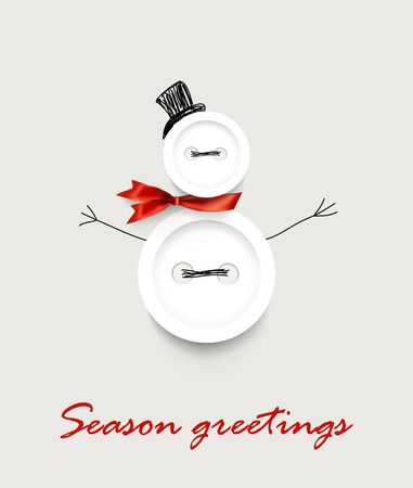 Happy new year 2020 handmade greeting vector card  banner with realistic sewing buttons snowman and Season greetings lettering Ilustrace