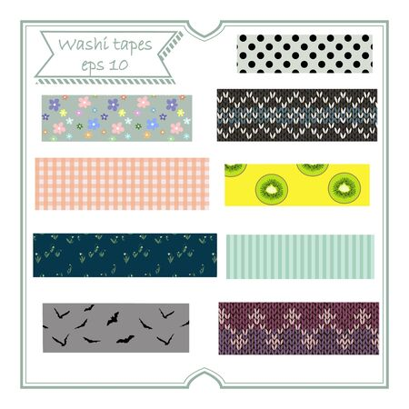 Vector illustration set of cute colorful hand drawn masking tape (Washi tape) fabric strip, blank tags label stickers with patterns Ilustrace