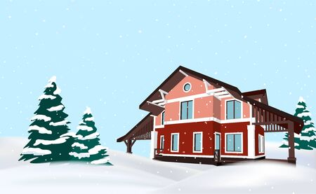 Festive vector winter countryside background with a red cottage house and christmas trees with negative space.