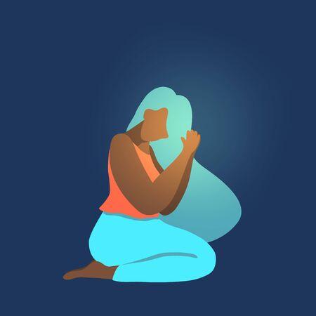 Vector illustration of afro american woman praying, flat design 向量圖像