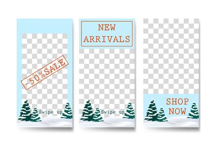 Vector set of winter commercial social media stories design templates, editable mobile story wallpaper layout for promotion