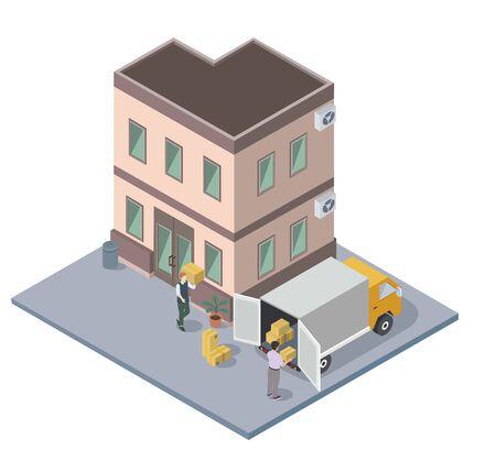 Menschen, die gepackte Kisten bewegen und laden, Wohnungssuche, flache Vektorisometrie Vektorgrafik