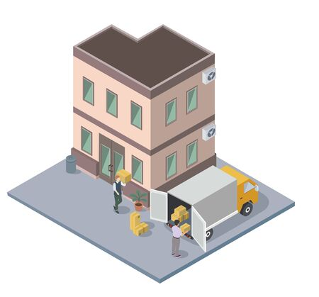 People moving and loading packed boxes, house hunt, flat vector isometric Vetores