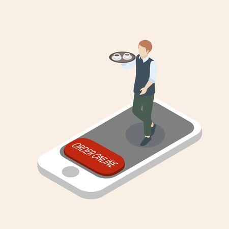 Isometric vector illustration, buy order online via smartphone shopping concept Illustration