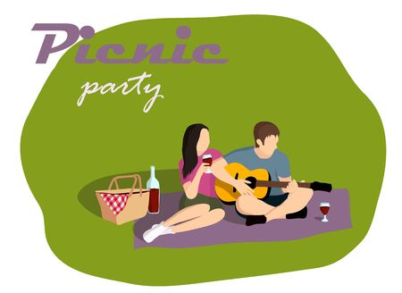Picnic party vector illustration. Isometric, retro style Ilustrace