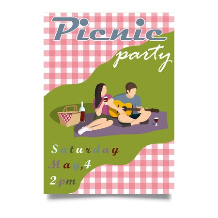 Picnic party invitation vector illustration. Isometric, retro style