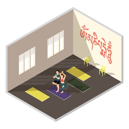 Yoga training studio, vector isometric