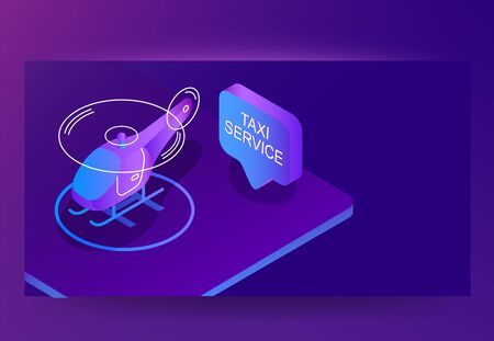 Helicopter taxi service isometric vector, mobile app. Futuristic banner with negative space Illustration