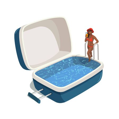 Vector illustration of young woman with a cocktail, stepping into the swimming pool in the open suitcase. Travel concept Illustration