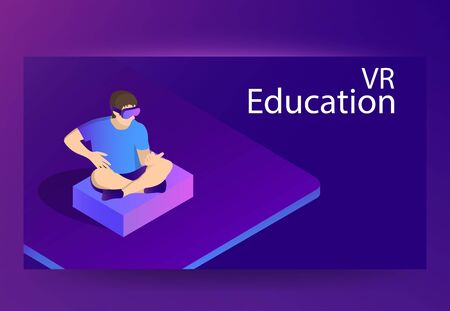 an wearing virtual reality headset. VR Education concept. Vector isometric banner /flyer template Banque d'images - 133188271