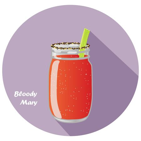 Vector illustration of Bloody Mary vodka and tomato juice cocktail in mason jar with celery garnish and long shadow design. Иллюстрация