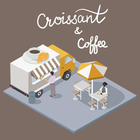 Isometric Coffee and croissant Cafe with script lettering. Coffee break Food Truck Delivery Master. Street Food Chef Infographic. 3D Flat vector Vehicle 向量圖像