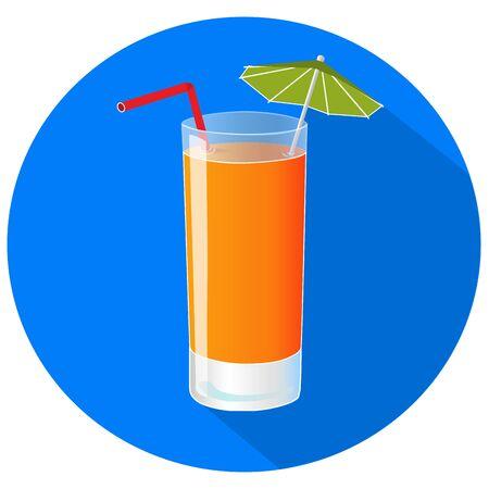 Hand drawn vector illustration of freshly squezed orange juice with long shadow. Bar menu
