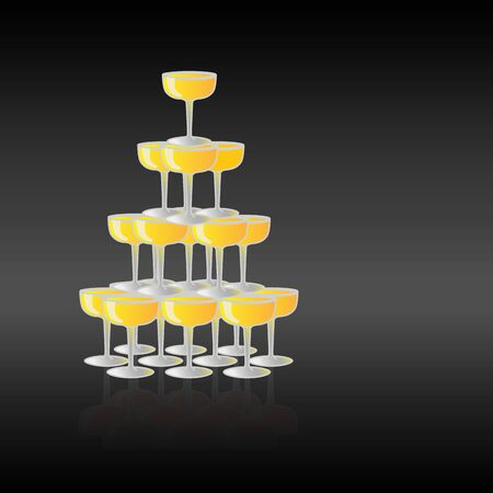 Pyramid of glasses with champagne against black background and place for text. Vector illustration Illustration