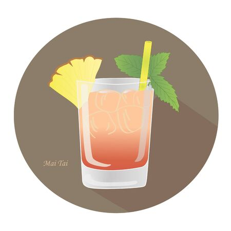 Hand drawn vector illustration of a Mai Tai alcohol rum cocktail with a mint leaf, yellow straw, pineapple spear, in an old fashioned glass, in a brown circle with a shadow.