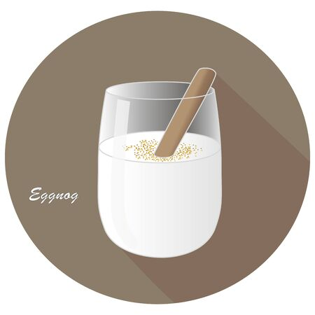 Hand drawn vector illustration of alcohol Eggnog or egg milk punch with a cinnamon stick. Dairy based beverage with brandy, rum or bourbon. In a brown circle with a shadow and text.
