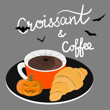 Halloween concept Coffee and croissant Cafe with script lettering. Coffee break flat vector