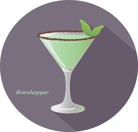 Hand drawn vector illustration of Grasshopper - american sweet, mint-flavored, after-dinner alcohol cocktail with mint leaves and chocolate, in a violet circle with long shadow and text. Bar menu
