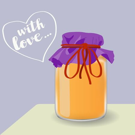 Hand drawn cartoon jar of honey or jam on the table, made with love. Vector illustration